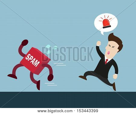 businessman is angry and try to catch spam who run away