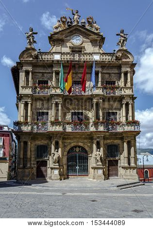 Town Hall of Pamplona ancient and historical building in Spain