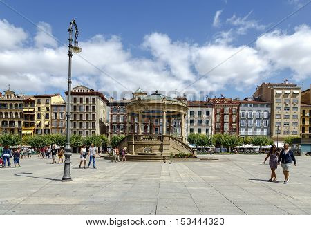 Pamplona Spain - August 21 2016: View of Plaza del Castillo one of the most touristic places in the city