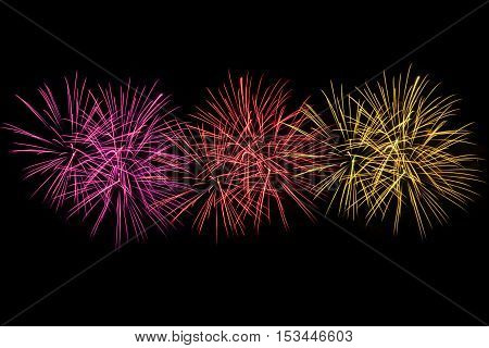 Beuatiful Colorful fireworks over black dark sky