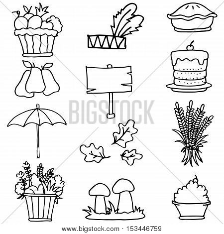 Illustration of element thanksgiving doodles collection stock
