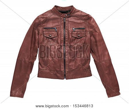 Isolated Red Brown Leather Jacket