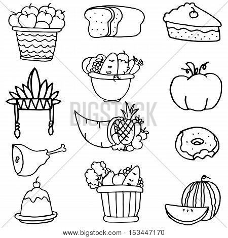 Collection stock of thanksgiving set doodles vector