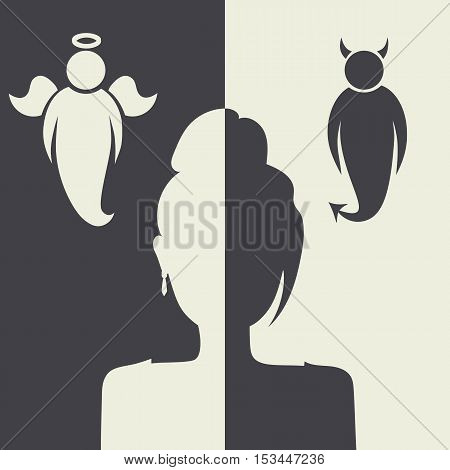 Vector illustration with angels and demons. It symbolizes the problem of choice.
