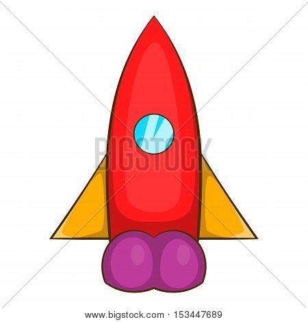 Rocket flies icon. Cartoon illustration of rocket flies vector icon for web