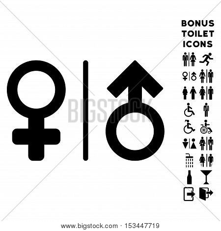 WC Gender Symbols icon and bonus male and woman WC symbols. Vector illustration style is flat iconic symbols, black color, white background.