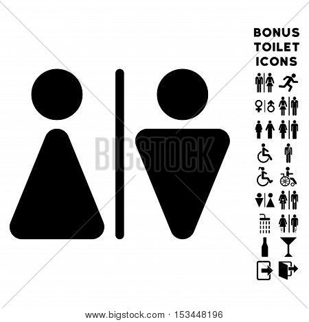 WC Persons icon and bonus male and lady WC symbols. Vector illustration style is flat iconic symbols, black color, white background.