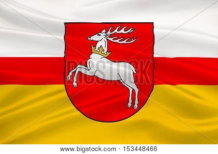 Flag of Lublin Voivodeship or Lublin Province in southeastern Poland. 3d illustration