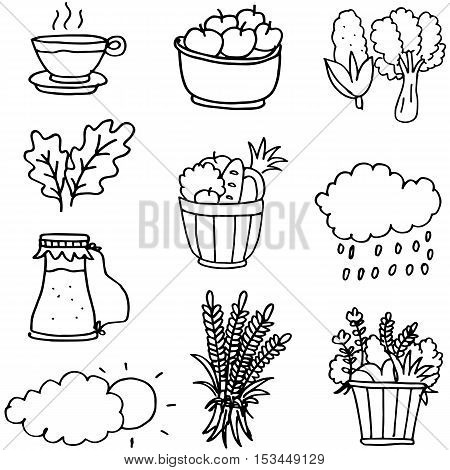 Stock collection thanksgiving of doodles vector art