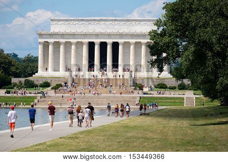 WASHINGTON D.C.,USA - AUGUST 14, 2016 : Tourists at the Lincoln Memorial in Washington D.C.