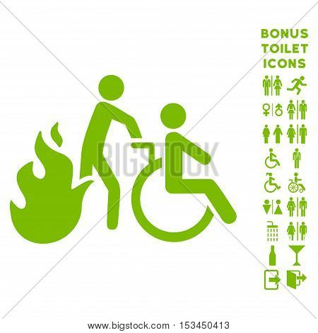 Fire Patient Evacuation icon and bonus man and female lavatory symbols. Vector illustration style is flat iconic symbols, eco green color, white background.