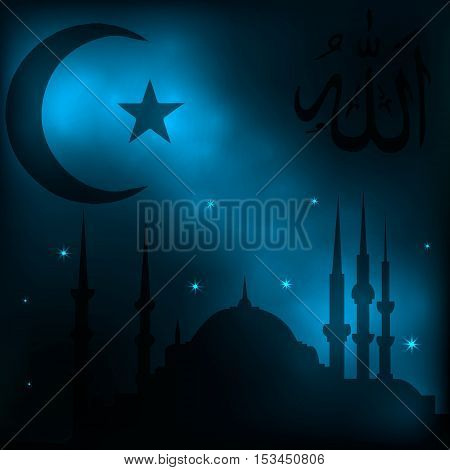 Islamic background with a mosque, a religious sign and calligraphic inscription Allahu akbar in Arabic, translated Allah is great