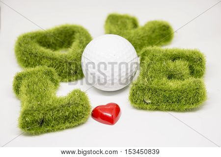 golf ball with heart shape with love letter around on white background for valentines concept for golfer