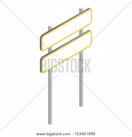 Road sign on pole icon. Isometric 3d illustration of road sign on pole vector icon for web