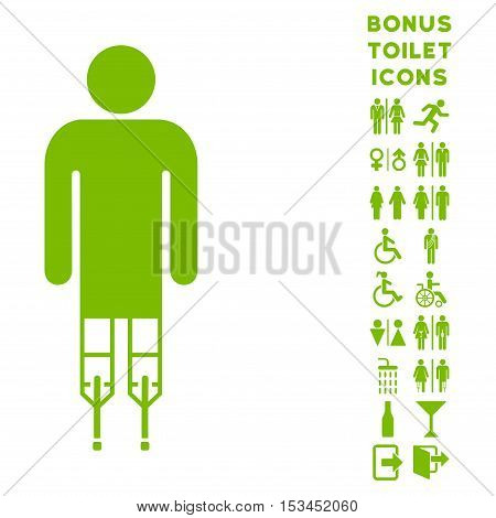 Man Crutches icon and bonus gentleman and lady WC symbols. Vector illustration style is flat iconic symbols, eco green color, white background.