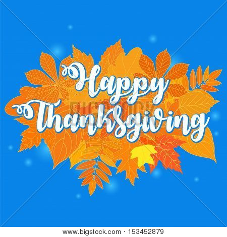 Flat design style Happy Thanksgiving Day logotype, badge and icon. Happy Thanksgiving Day logo template. Thanksgiving Day card template. Happy Thanksgiving banner, flyer. Vector illustration