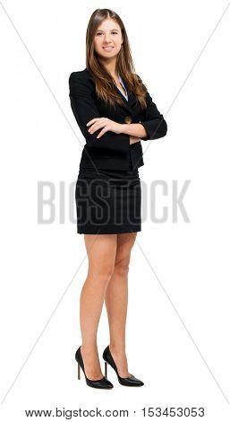 Smiling woman full length on white background