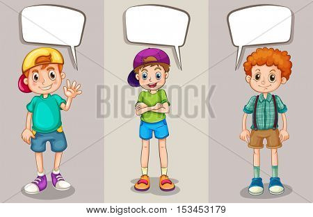 Speech bubbles design with three boys illustration