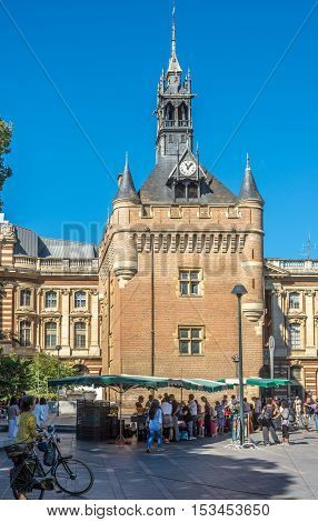 TOULOUSE,FRANCE - AUGUST 30,2016 - Donjon du Capitol building at the sqaure of General de Gaulle in Toulouse. Toulouse is the capital city of the southwestern French department of Haute-Garonne as well as of the Occitanie region.
