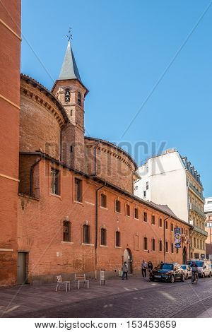 TOULOUSE,FRANCE - AUGUST 30,2016 - Church of Saint Jerome in Toulouse. Toulouse is the capital city of the southwestern French department of Haute-Garonne as well as of the Occitanie region.