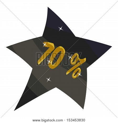 Tag star seventy percent discount icon. Cartoon illustration of tag star seventy percent discount vector icon for web