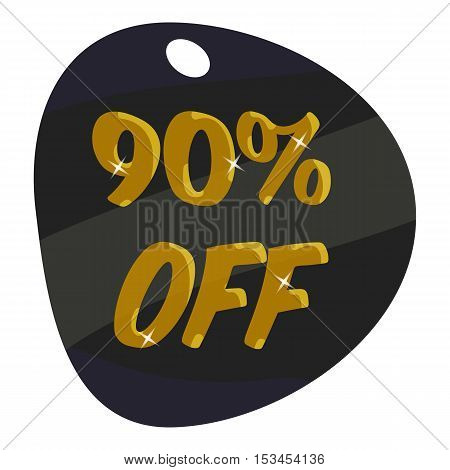 Tag ninety percent discount icon. Cartoon illustration of tag ninety percent discount vector icon for web