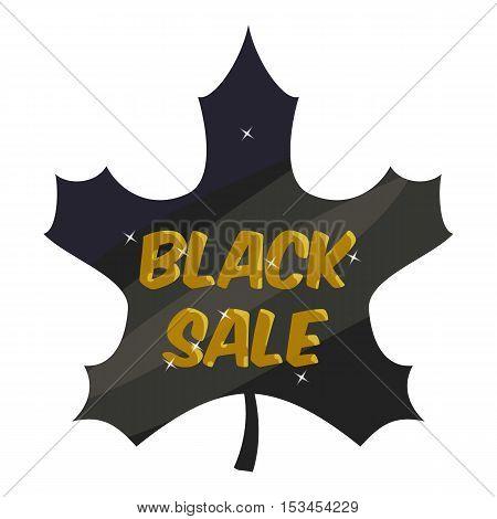 Tag leaf black sale icon. Cartoon illustration of tag leaf black sale vector icon for web