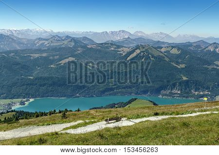 View of Alps mountain with Wolfgangsee lake from Schafberg mountain Austria