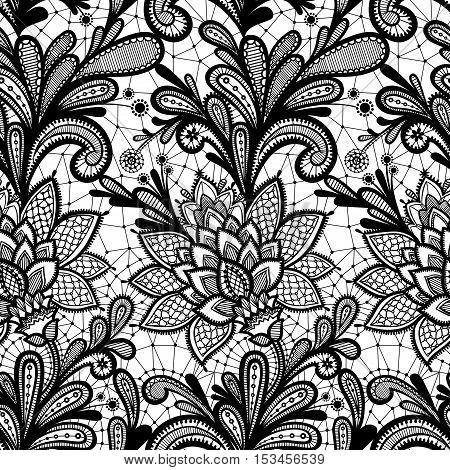 Seamless lace floral pattern. Vintage invitation. Grunge background with lace ornament. Black and White.