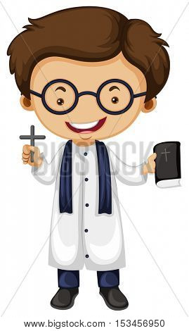Preist holding cross and bible illustration