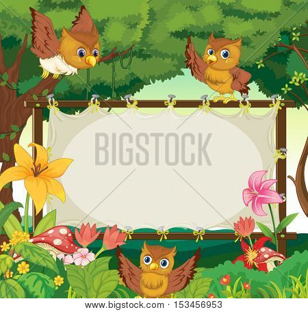 Frame template with three owls flying in jungle illustration