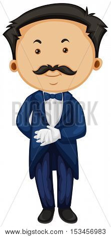 Butler in blue taxido illustration