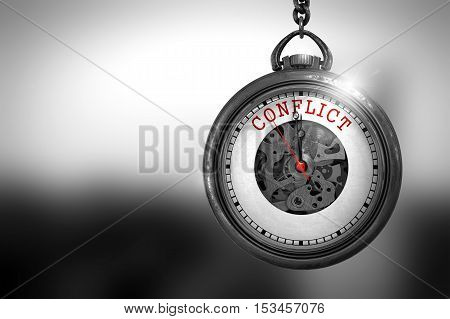 Business Concept: Conflict on Vintage Pocket Clock Face with Close View of Watch Mechanism. Vintage Effect. Conflict Close Up of Red Text on the Pocket Watch Face. 3D Rendering.