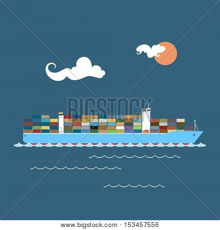 Cargo Container Ship at Sea, Industrial Marine Vessel with Containers on Board, International Freight Transportation ,Vector Illustration