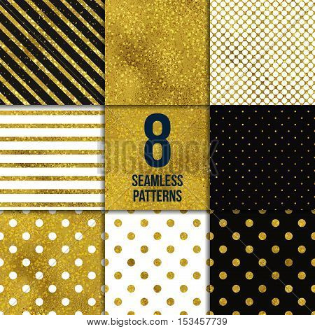 Abstract seamless gold backgrounds. Vector illustration set. Texture of foil. Six Striped and polka dot patterns.