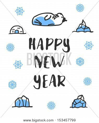 Happy new year poster with lettering. Funny doodle walrus with cartoon icebergs and snowflakes. Vector illustration isolated on white. Cute walrus wears hat