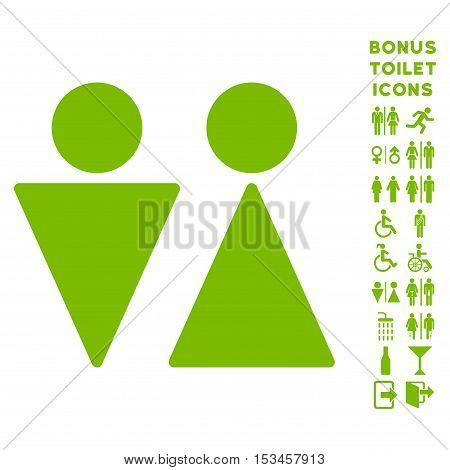 WC Persons icon and bonus man and woman WC symbols. Vector illustration style is flat iconic symbols, eco green color, white background.