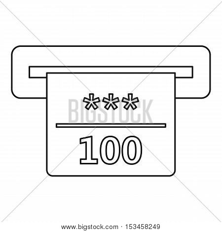 Winning cheque in casino icon. Outline illustration of winning cheque in casino vector icon for web