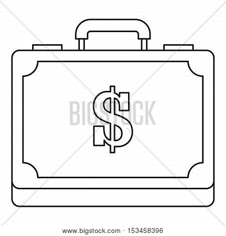 Briefcase full of money icon. Outline illustration of briefcase full of money vector icon for web