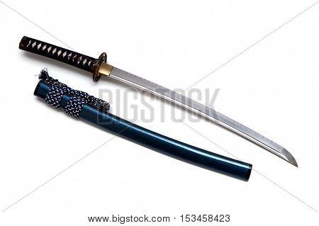 Wakizashi Japanese sword and scabbard on white background