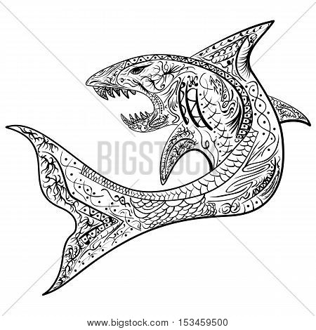 Hand-drawn shark with ethnic doodle pattern. Coloring page - zendala for relaxation and meditation for adults vector illustration isolated on a white background. Zendoodle.