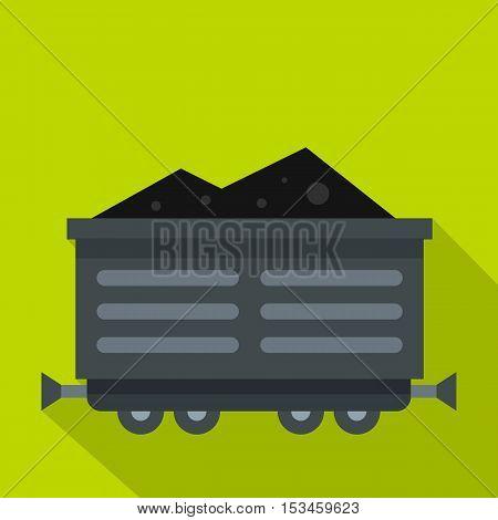 Train waggon with coal icon. Flat illustration of train waggon with coal vector icon for web