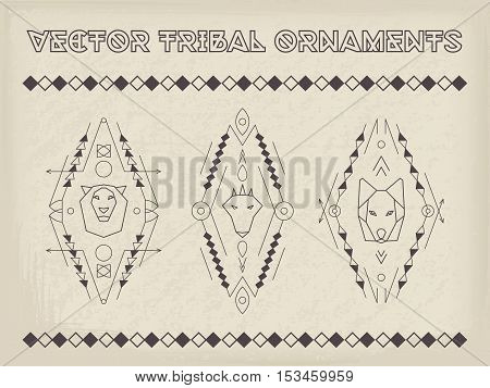Tribal vector elements. Ethnic collection of geometric emblems with animals and rose isolated on retro background