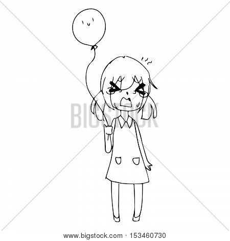 illustration vector hand drawn doodle of little girl crying with ponytails and balloon in hand