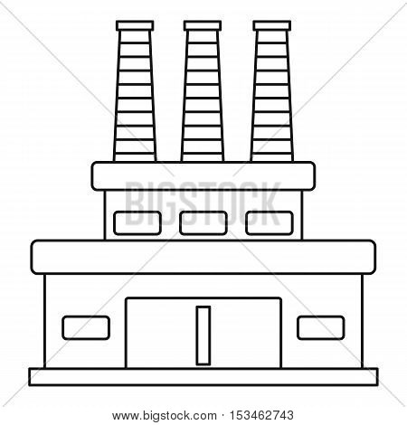 Large oil refinery icon. Outline illustration of large oil refinery vector icon for web