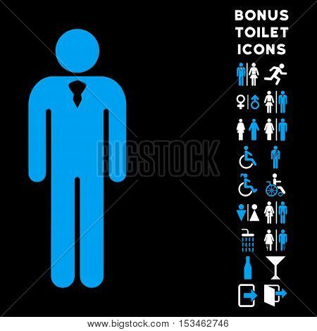 Gentleman icon and bonus gentleman and female WC symbols. Vector illustration style is flat iconic bicolor symbols, blue and white colors, black background.