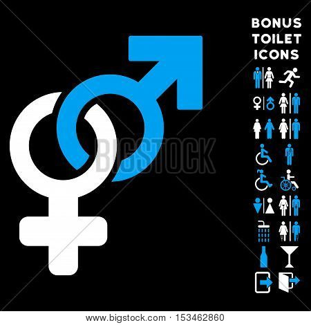Heterosexual Symbol icon and bonus male and woman restroom symbols. Vector illustration style is flat iconic bicolor symbols, blue and white colors, black background.