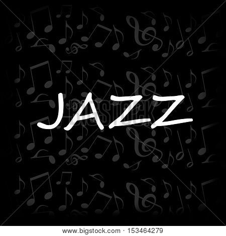 Jazz design with musical notes on black background