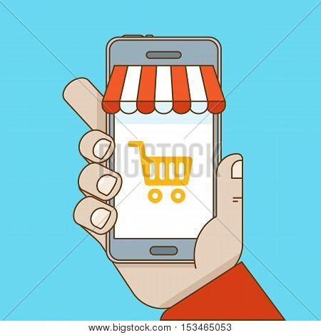 Online Shopping And Mobile E-commerce Concept