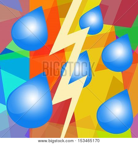 Rain, thunder and lightning, abstract art background